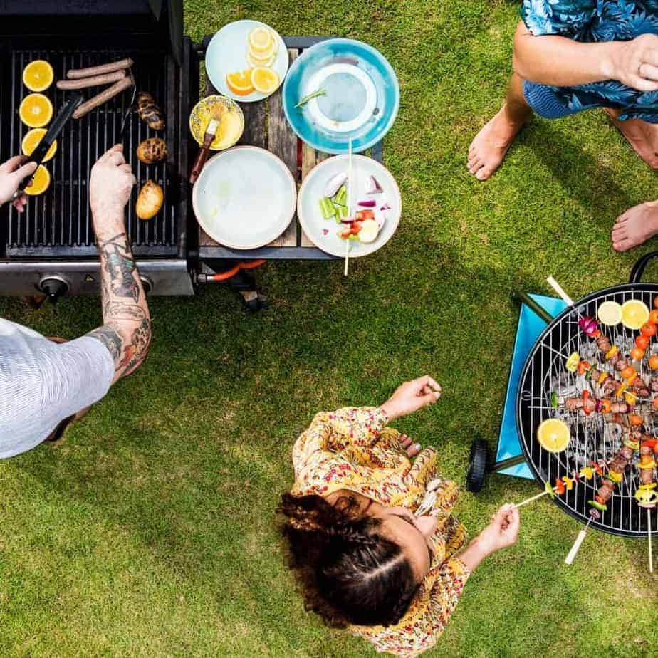 Overhead View Of Bbq Party