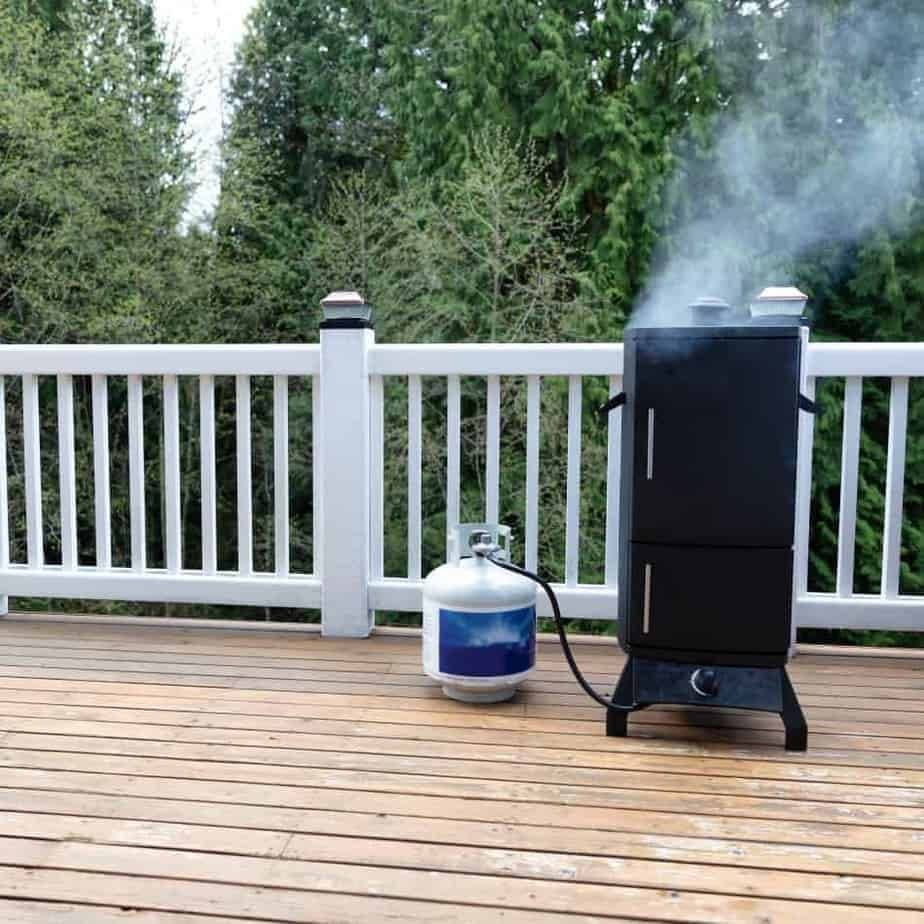 Propane Bbq Smoker On Wood Deck